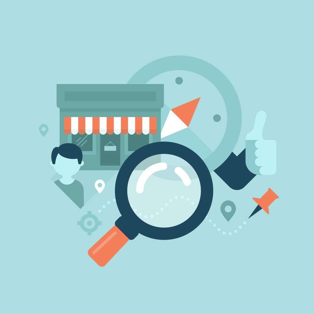 Illustration of local search proximity concept featuring a small business storefront, a compass, a pin, a magnifying glass, etc.