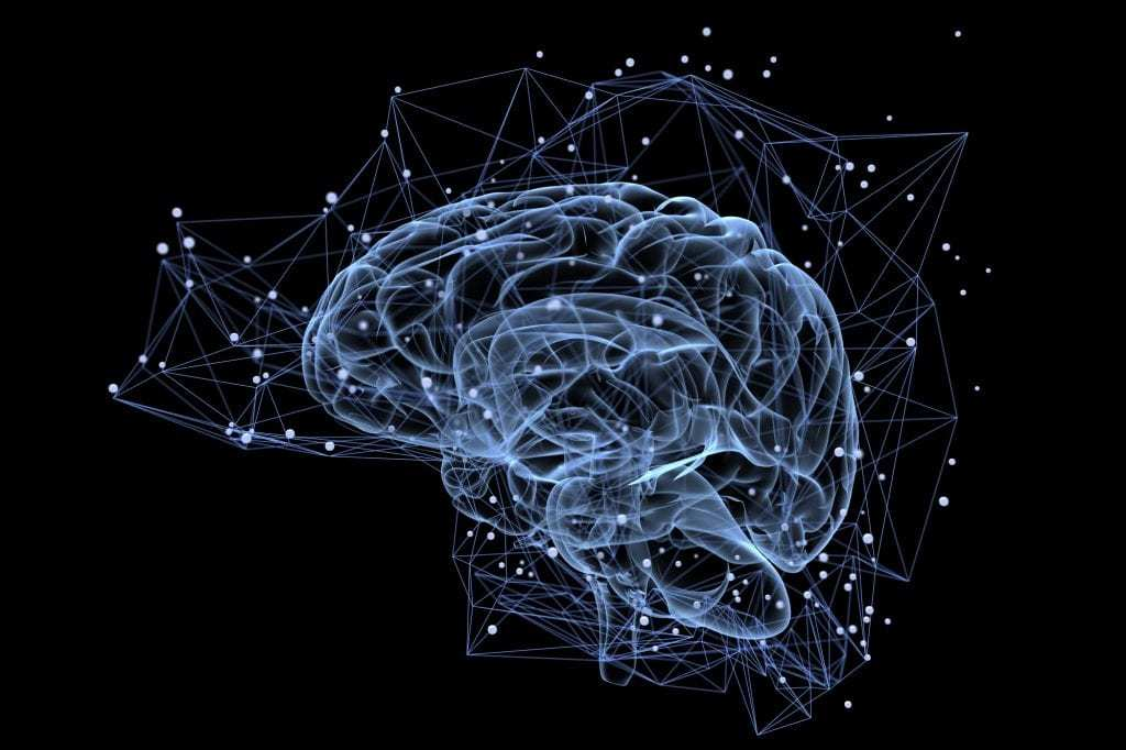 Graphic of brain with lines and dots hovering around it