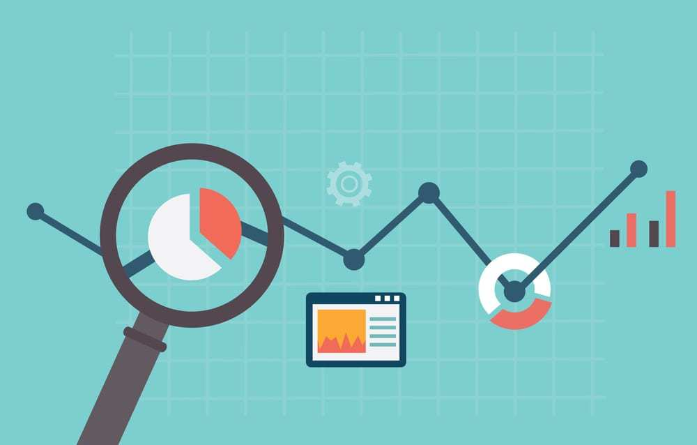 flat vector illustration representing web analytics and magnifying glass