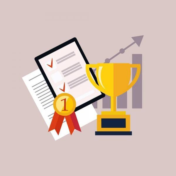 Vector illustration of gold award, list with checkmarks, badge reading #1, graph trending upward